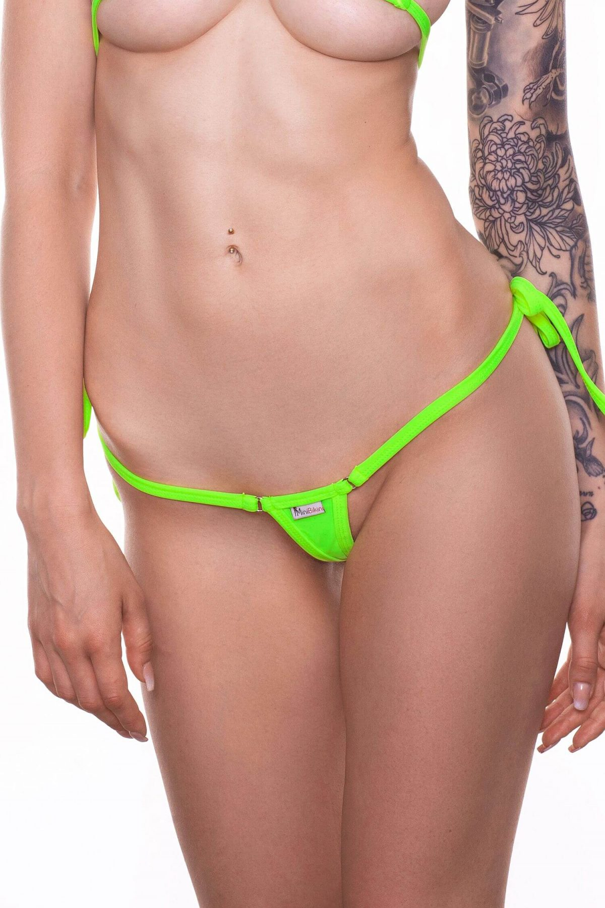 Neon bikini bottom with side ties